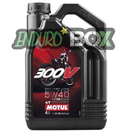 Huile 4T 300V Factory Line OffRaod 5W40 MOTUL 4L Enduro Box